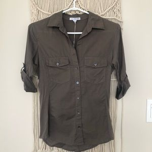 James Perse button shirt olive green size 1